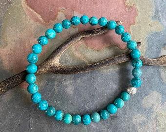 6 mm Natural Turquoise Bracelet,Turquoise Labradorite Stretch Bracelet,December Birthstone Bracelet,Yoga Bracelet, Healing gemstone Bracelet
