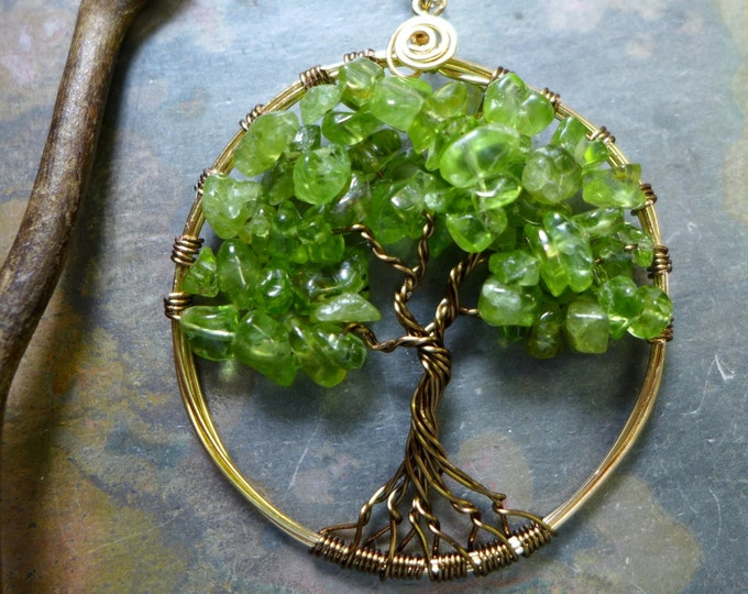 Peridot Tree of Life Pendant  Necklace-Wire Wrapped Peridot Gemstone Tree of Life Necklace,August Birthstone Tree Pendant,  TLN-PER-GBPL