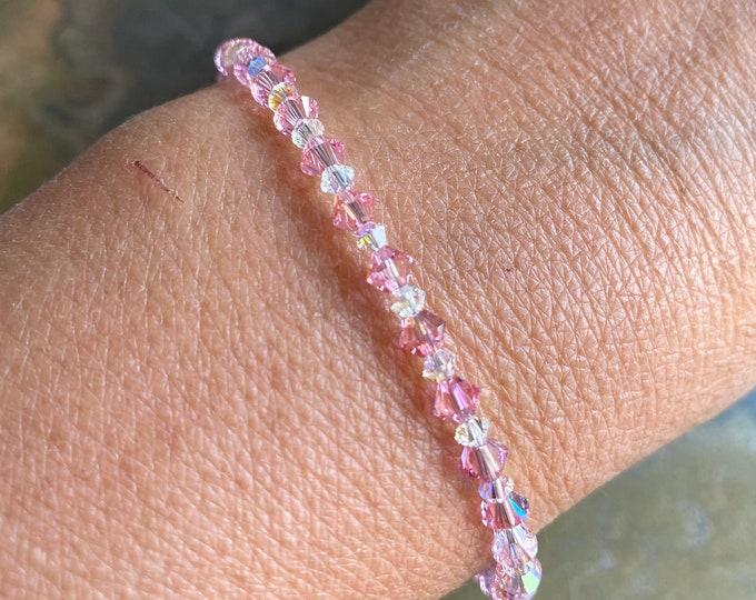 Pink Crystal Anklet/Bracelet,Wedding/Bridal Crystal Anklet/Bracelet Sterling Silver, Swarovski Crystal Bracelet, Pink Crystal Anklet