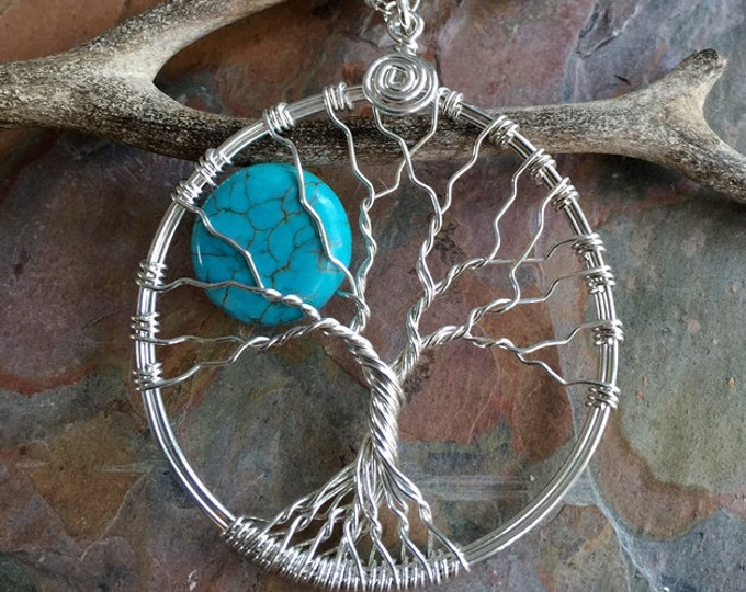 Moon Tree of Life Pendant Sterling Silver Necklace, Turquoise Moon Tree of Life Pendant Necklace, Wire Wrapped Moon Tree of Life Necklace