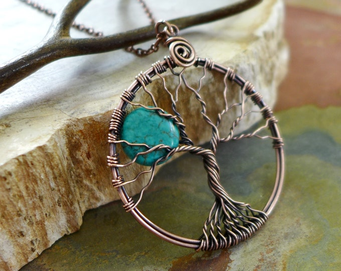 Blue Turquoise Moon Tree of Life Pendant in copper Wires, Wire Wrapped Full Moon Tree of Life Pendant Necklace,Turquoise Moon Tree of Life