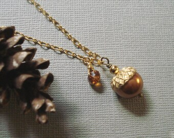 Acorn Copper Gold Necklace  ONLY  Fall  Autumn  Nature inspired-Fall Wedding -Fall Bridemaid Jewelry