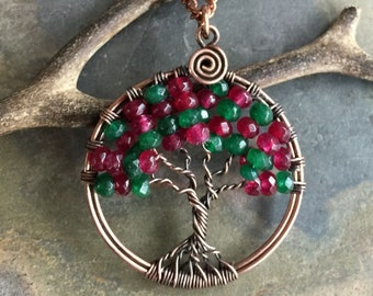 Christmas Tree of Life  Necklace,May and July Birthstone Tree Necklace,Emerald and Ruby Tree of Life Necklace, Holiday Tree of life necklace
