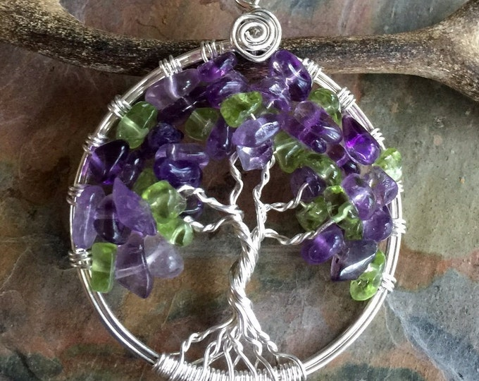 Amethyst Necklace in Sterling Silver,Amethyst Tree of Life Necklace,Amethyst/Peridot Necklace,February Birthstone Necklace,Amethyst Necklace