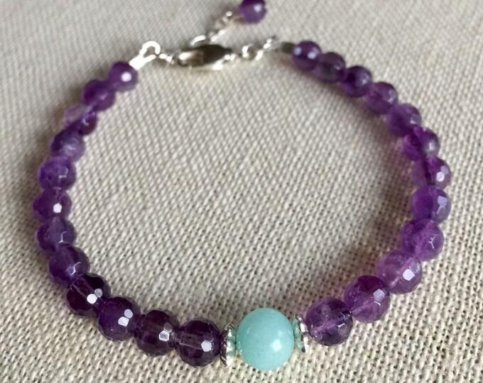 Amethyst Aquamarine Bracelet,February /March Birthstone Bracelet,Amethyst Silver Bracelet,Amethyst Adjustable Bracelet, Healing gemstone