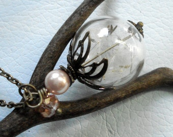 Dandelion Necklace, Dandelion Flower Pearl Necklace, Dandelion Jewelry- Wish jewelry, Make a Wish Necklace, Birthday Gift, Glass Jewelry