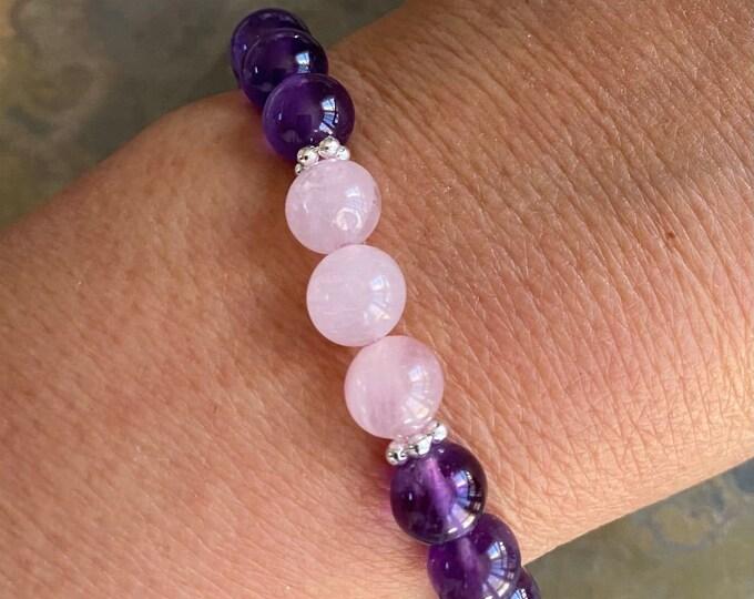 Amethyst Bracelet,Madagascar Rose Quartz and Amethyst Bracelet,February Birthstone Bracelet, Healing Elastic/Stretch Gemstone Bracelet,