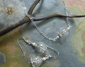 Dandelion Necklace Sterling silver Chain, Wish Necklace, Real Dandelion Seed Pearl Silver Necklace,Dandelion earrings in Sterling silver