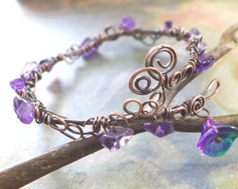 Amethyst Bracelet,Wire Wrapped Amethyst Antiqued Copper Bracelet,Amethyst bracelet,February Birthstone Bracelet,Bangle Leaf Wrap bracelet,