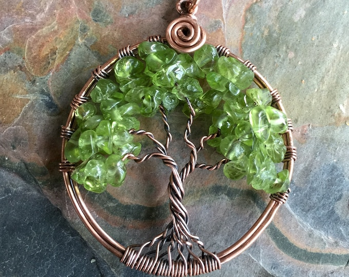 Peridot Tree of Life Necklace Antiqued Copper,Copper Tree of life Necklace, Peridot Tree of Life Pendant,August Birthday Gift, Mom's Gift