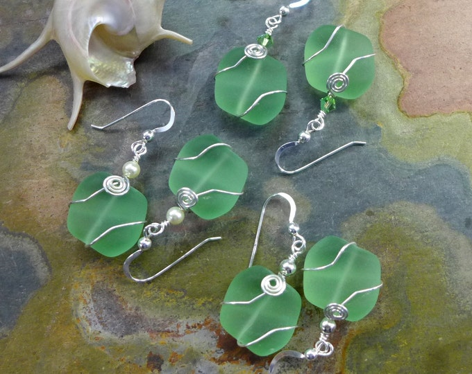 Green Beach Glass Earrings, Green Sea Glass Earrings in Sterling Silver Earwires, Beach Wedding Earrings,Bridesmaid Earrings,