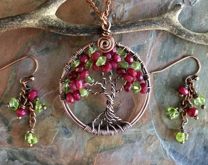 Ruby Necklace, Ruby Tree of Life Necklace in Antiqued Copper, Wire Wrapped Genuine Ruby Tree of Life Pendant,July Birthstone Necklace