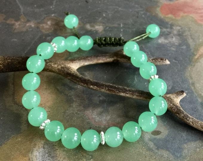 Jade Bracelet, Green Jade Jadeite Macrame bracelet, Jade gemstone Adjustable bracelet,Yoga Adjustable Macrame Bracelet, Healing gemstone