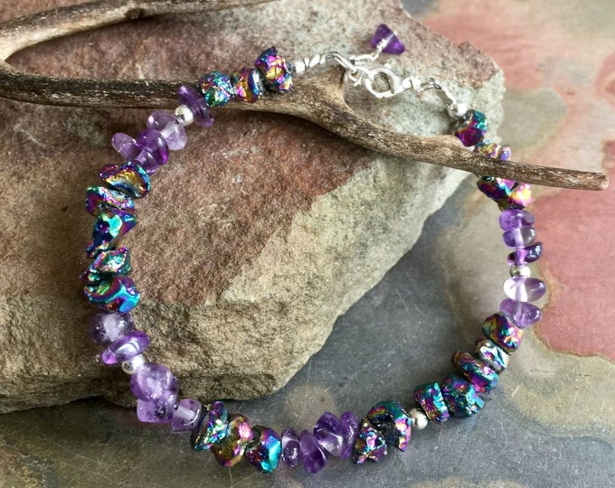 Titanium Quartz Amethyst Bracelet in  Sterling Silver,Rainbow Titanium quartz Bracelet, Amethyst Bracelet,Rainbow Purple Lavender Bracelet