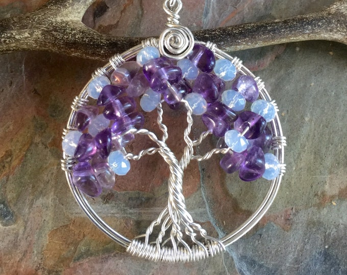 Tree of Life Necklace in Sterling Silver,Amethyst and Opalite Tree of Life Necklace- February and October Birthstone Tree of Life Pendant