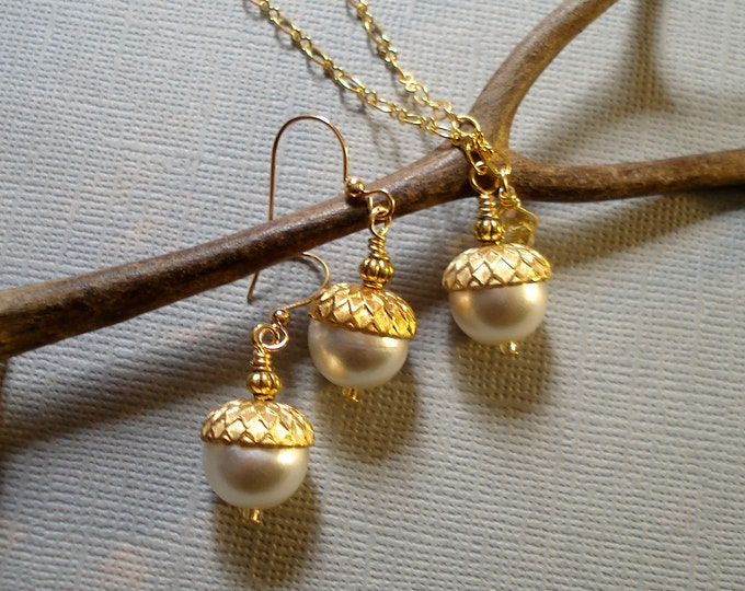 Acorn Cream Ivory Gold Necklace and  Earring Set - Fall  Autumn - Nature inspired