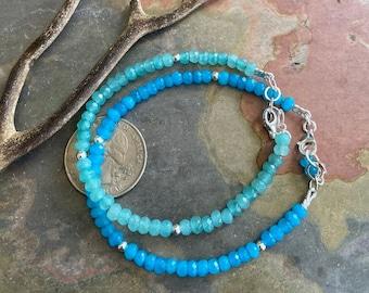 Aquamarine Bracelet, Aquamarine Bracelet in Sterling Silver,March Birthstone Bracelet, Aquamarine gem Bracelet, Aquamarine Jewelry