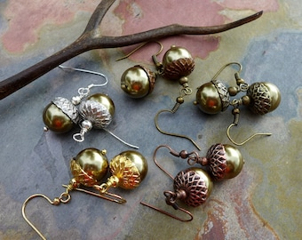 Acorn Earrings ONLY,  Acorn Jewelry, All/Autumn Pyrite color Acorn Necklace and Earrings - Fall / Autumn Wedding/Bridal Jwelry