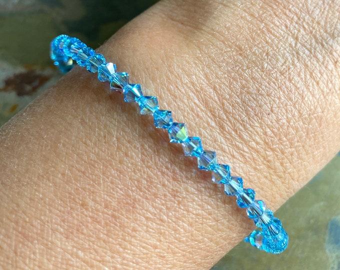 Aquamarine Crystal Anklet/Bracelet,Wedding/Bridal Crystal Bracelet in Sterling Silver, Swarovski Crystal Adjustable Bracelet,Crystal Jewelry