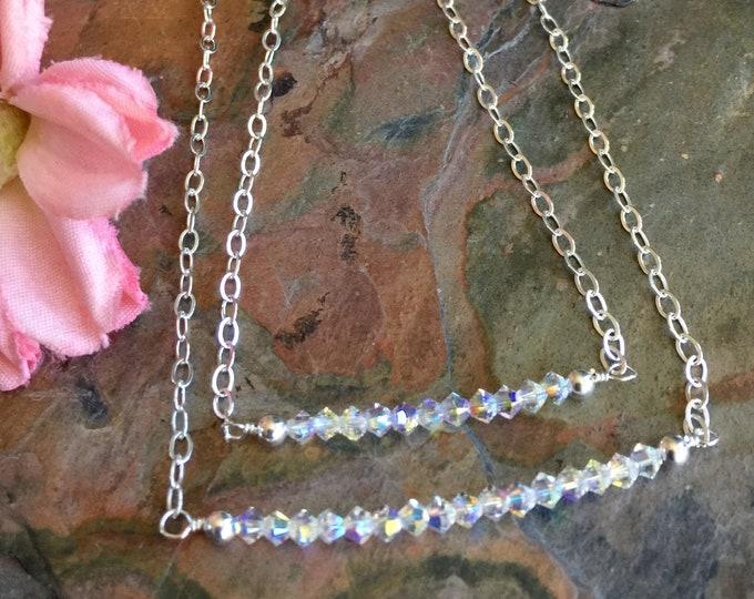 Crystal Bar Bracelet Sterling Silver, April Birthstone Bracelet,Dainty Bracelet,April Birthday Gift,Mother's Day Gift,Birthstone Bracelet