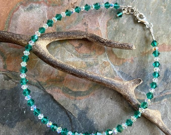 Anklet/Bracelet, Swarovski Crystal AnkletBracelet  Sterling Silver, Crystal Bracelet,Indicolite Crystal Jewelry,Bridesmaid Crystal Bracelet