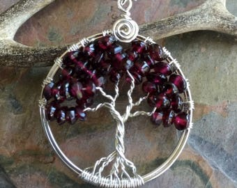 Sterling Silver Garnet Necklace,Garnet Tree of Life Necklace with .925 Sterling Silver Chain, January Birthstone Tree of Life, Gifts for Her