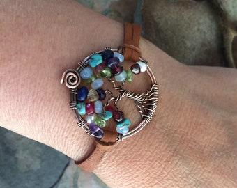 Custom Tree of Life Bracelet in Leather, Family Tree of Life Bracelet,Personalized Leather Bracelet, Tree of Life Bracelet,Gemstone Bracelet