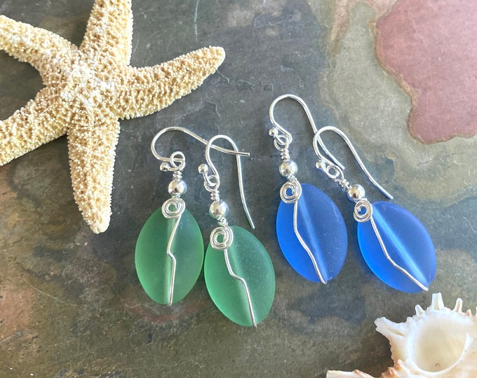 Sterling Silver Sea Glass Earrings, sky Blue Sea Glass Earrings, Green Sea Glass Dangling Earrings, Beach Wedding Jewelry,Summer Jewelry