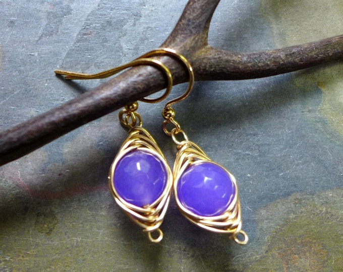 Jade Earrings in Gold, Wire Wrapped Lavender Jade Earrings,Wire Wrapped Amethyst Earrings in Gold, Wire wrapped Dangling Earrings,