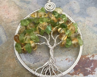 Citrine Necklace,Citrine/Peridot Tree of Life Necklace,Wire Wrapped Citrine/Peridot Tree of life Necklace,November Birthstone Necklace,