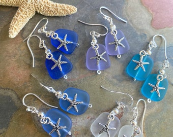 Starfish Sea Glass Earrings,Blue Sea Glass Starfish Earrings,Seastar Sea Glass Dangling Earrings, Beach Wedding Jewelry,Summer Jewelry