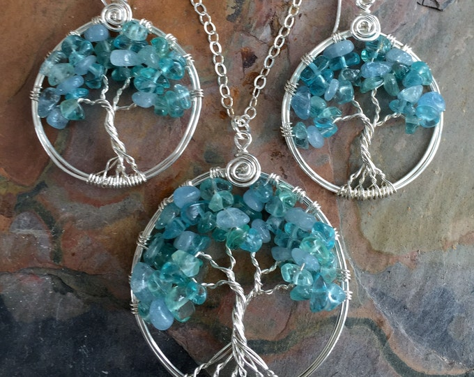 Tree of Life Necklace,Sterling Silver Wired Wrapped Aquamarine/ Apatite Tree of Life Pendant and Earrings,March/December Birthstones Jewelry