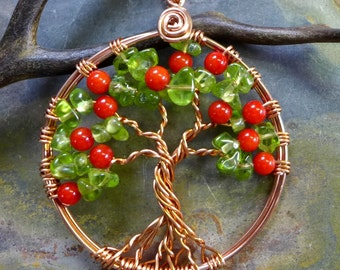 Tree of Life Pendant Necklace- Fruit Tree of life pendant-Wire Wrapped Peridot/ Coral Fruit Gemstone Tree of life Necklace in Copper
