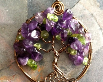 Amethyst Necklace,Amethyst Tree of Life Necklace with Chain - Wire Wrapped Amethyst/Peridot Gemstone Necklace- February Birthstone