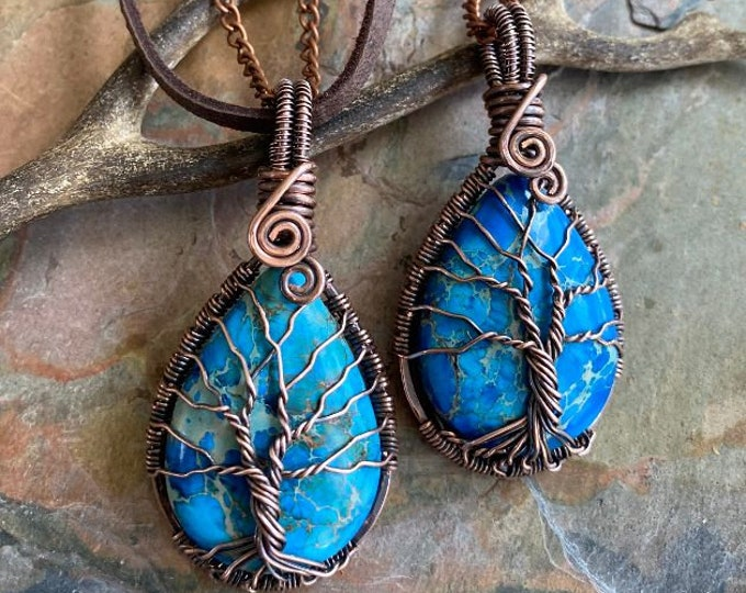 Blue imperial jasper Necklace, Wire Wrapped Blue Sea Sediment Jasper Tree of Life Necklace,Blue Jasper Necklace, Jasper Jewelry, Jasper Tree