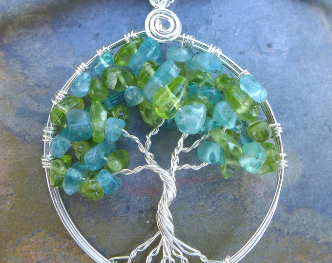 Tree of Life Pendant with Sterling Silver Chain- Apatite/Peridot Gemstone Tree of Life Pendant Necklace- December, August Birthstone