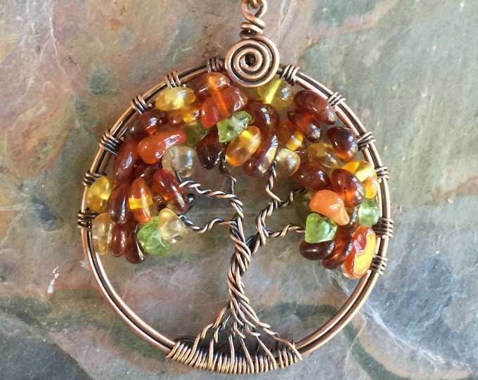 Autumn/Fall Tree of Life Necklace,Amber,Hessonite Garnet,Peridot,Carnelion,Citrine  Tree Life Pendant,Wire Wrapped Copper Tree of Life
