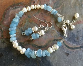 Aquamarine Pearl Bracelet /Earrings,Wire Wrapped Aquamarine Chip Bracelet, March and June Birthstone Bracelet/ Earrings, Aquamarine Bracelet