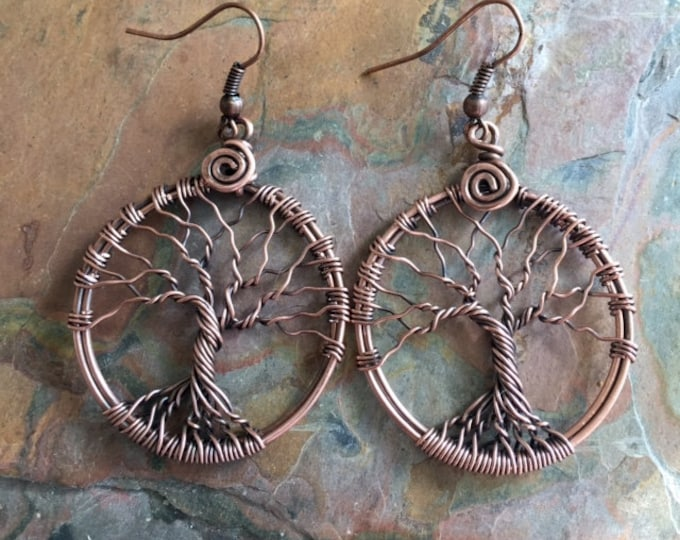 Tree of Life Earrings in Antiqued Copper,Tree of Life Copper Drop/Dangle Earrings,Wire Wrapped Tree of Life Earrings,Tree of Life Jewelry