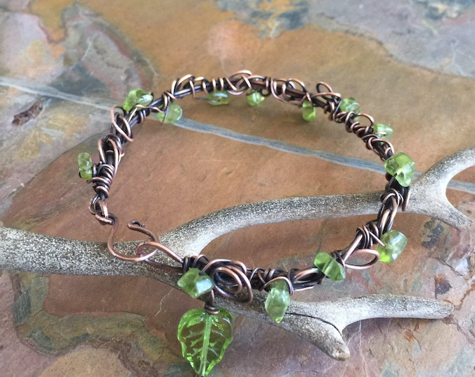 Wire Wrapped Antiqued Copper Bracelet ,Adjustable bracelet,Peridot Bangle/Cuff Leaf Wrap bracelet,, August Birthstone Bracelet