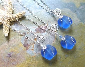 Beach Glass Necklace, Sky Blue Sea Glass Sand Dollar Necklace. Sea themed Charm Necklace, Beach Weddings, Bridesmaid Necklace/jewelry