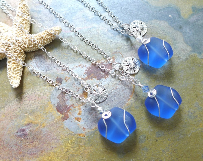 Beach Glass Necklace, Sky Blue Sea Glass Sand Dollar Necklace. Sea themed Charm Necklace, Beach Weddings, Bridesmaid Necklace/jewelry