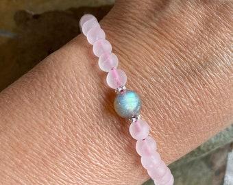 Rose Quartz Bracelet,Matte Natural Pink Rose Quartz Stretch Bracelet,Pink Rose Quartz Jewelry, Love Bracelet,Pink Rose Quartz Necklace