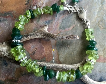 Peridot/Jade Bracelet,Wire Wrapped Green Peridot and Jade Bracelet, Peridot Jewelry, Peridot August Birthstone, Peridot Gemstone Bracelet,