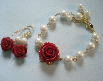 Red Rose Pearl in Gold  Bracelet, Rose Pearl Bracelet in Gold, Rose Earrings in gold, Red Rose Pearl Bracelet, Red Rose dangling Earrings