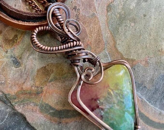 Rainbow Quartz Crystal Necklace,Wire Wrapped Raw Aura Quartz Pendant in Copper, Rainbow Aura Quartz Crystal Healing Jewelry
