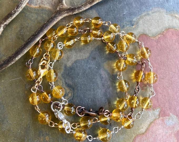 Citrine Gemstone Link Bracelet, Wire Wrapped Citrine Bracelet,Citrine Gemstone Jewelry, November Birthstone Bracelet, Stacking Bracelet