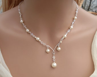 Bridal Pearl And Crystal Necklace,Bridesmaid Necklace, Bridal Jewelry, Pearl Crystal Necklace in Silver, Wired Pearl Crystal Necklace,