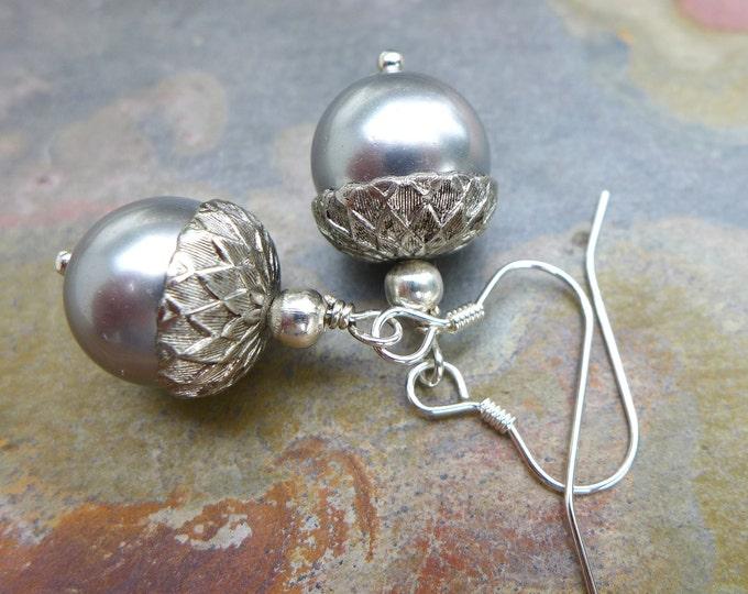 Acorn Earrings, Silver/Gray Pearl Acorn Earrings, Bridal/Bridesmaid Fall/Autumn Acorn Earrings ONLY, Swarovski light Gray Acorn Earrings