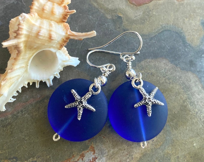Blue Sea Glass Starfish Earrings in Sterling Silver, Blue Sea Glass Starfish Earrings, Beach Weddings, Starfish Charm Dangling Earrings